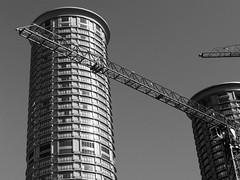 Crossing Over (AsherBlue) Tags: seattle urban tower architecture blackwhite washington construction downtown geometry westin goldstaraward