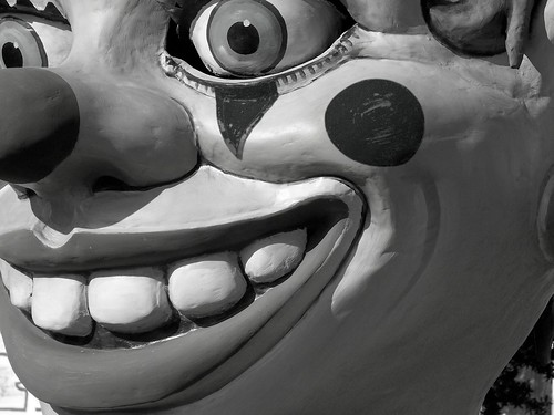 evil clown... (b&w)