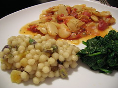 Israeli Couscous with Pistachios and Apricots and Mediterranean-Style Baked Lima Beans (yamyogi) Tags: veganomicon