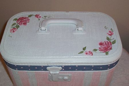 Hand Painted Train Case Roses