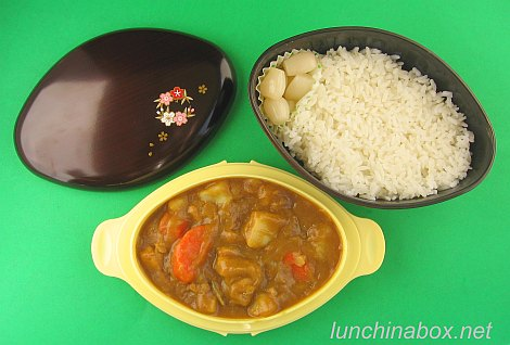 Curry rice bento lunch in donburi bento box
