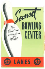 Sunset Bowling Center, Los Angeles (jericl cat) Tags: sunset illustration vintage menu design losangeles los pin angeles center bowl bowling 52 lanes diecut