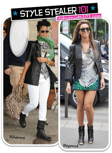 her Balmain jacket, white J Brand jeans, and black suede boots), Rihanna