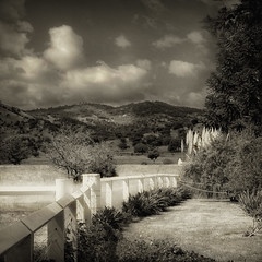 In a place far away (CheyneySan (Marie)) Tags: summer bw landscape countryside australia fields canberra act