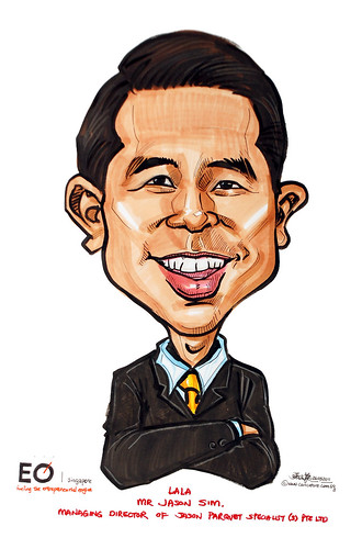 Jason Sim caricature for EO Singapore