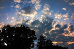 Rainy Season Cloudy Sunset (JapanDave) Tags: blue sunset sky white abstract yellow japan clouds photoshop canon landscape golden day cloudy  hdr goldenhour aichiprefecture chubu honshu  mikawa tonemapped photomatixpro  laspina eos450d   davidlaspina efs1855mmf3556is rebelxsi kissx2 1855efsis topazadjust okazakicity japandave japandavecom