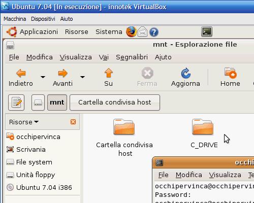 Fig. 18 - Cartelle condivise guest Linux avviato - creazione punto di mount