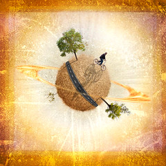 Mi otro mundo (dgr) Tags: world road trees bicycle photoshop square design arboles carretera space bicicleta textures planet redondo diseo postproduction mundo texturas espacio planeta cs3 cuadrado postpro dgr postproduccion
