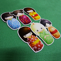 Kokeshi Doll magnets (Eskimimi) Tags: uk japan wooden fridge doll handmade magnets refridgerator etsy kokeshi magnet apanese
