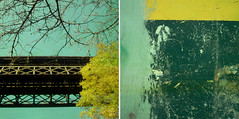 duo_23 (.lafabe.) Tags: city bridge trees urban abstract detail yellow wall jaune square graffiti town diptych duo arbres deux pont diptyque mur ville association carré combo abstrait cuadra combinaison cuadra2