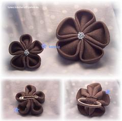 Coletero y broche (Las cositas de Silvia  ;D) Tags: flower grey gris broche brooch flor kanzashi coletero