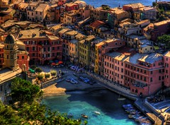Day 13: Cinque Terre - Vernazza001 (aaronsigfin) Tags: sea italy mountains beach buildings boats harbor town colorful europe mediterranean honeymoon amy hiking aaron cliffs trail terre vernazza hdr cinque