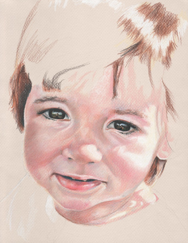 In progress colored pencil drawing entitled Clara at 17 Months