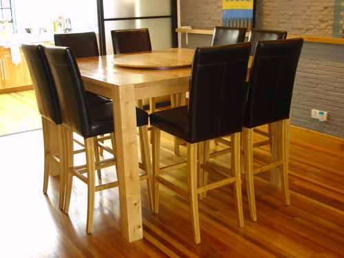 Solid Birch & Leather 8-Seat Dining