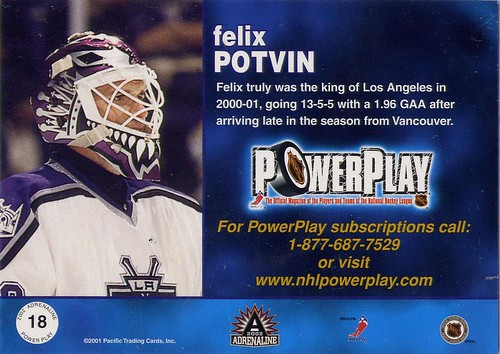 felix potvin, los angeles kings, 01-02 pacific adrenaline, power play magazine, hockey card