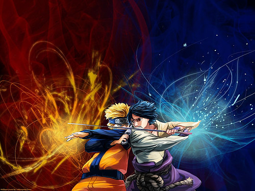 naruto vs sasuke shippuden. the two rivals are grown up and they don't fool