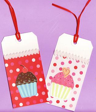 Set of 2 Glitter Cupcake Rectangle Valentines Day Gift or Hang Tags by Paper-Pixie.