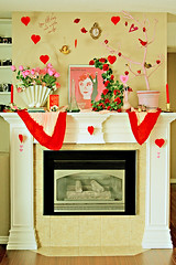 Valentine Shrine (boopsie.daisy) Tags: pink flowers decorations red roses holiday funnyface bird love motif birds hearts words fireplace candles branch audreyhepburn tulips eiffeltower audrey hearth valentines cupid decor decorate homesweethome mantle owls valentinesday 10faves youfilltheairwithsmiles