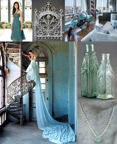 Turquoise Gray Top left Lazaro gown Vogue UK Lovely color blue