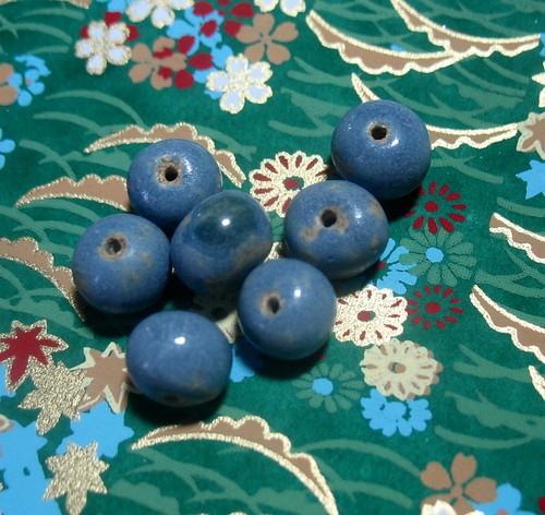 World-Weary Blue Handmade Ceramic Beads