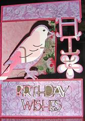 Pink Bird Card (tacasha1/) Tags: pink flower bird birthdaycard papercraft cardmaking cricut cuttlebug cricutexpression cricutdesignstudio