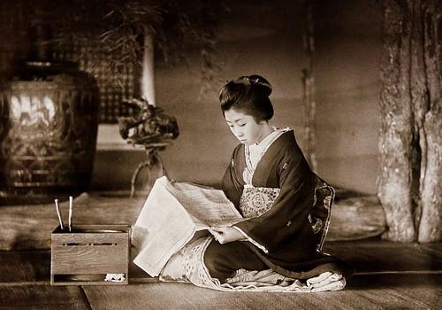GEISHA READING A NEWSPAPER by Okinawa Soba