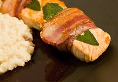salmon with celery root puree