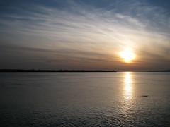 Buffalo, NY at sunset (Leya :P) Tags: blue sunset sky sun lake ny water yellow night clouds landscape buffalo calm lakeontario breeze supershot
