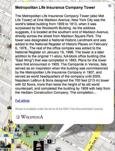 Wikipedia en Google Maps