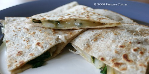 Spinach, Swiss and Viadalia Quesadillas