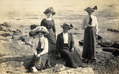 Edwardian ladies at the seaside (lovedaylemon) Tags: sea woman holiday beach hat lady vintage found seaside sand rocks image barefeet edwardian