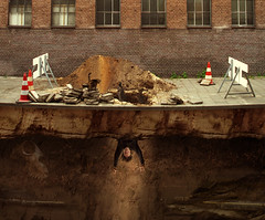 Excavationism (Mattijn) Tags: street city cat fossil skull dive photomontage pino hilversum mattijn cones crosssection excavation excavationism
