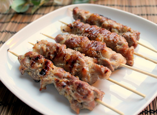 Grilled skewered pork