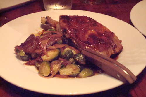 Thick Cut Pork Chop, roasted brussels with lardon, mustard jus
