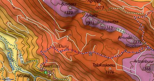 Ejemplo del mapa raster AIZKORRI, de editorial NONDIK, zona Arantzazu Aloña (macizo de Aizkorri, Gipuzkoa)