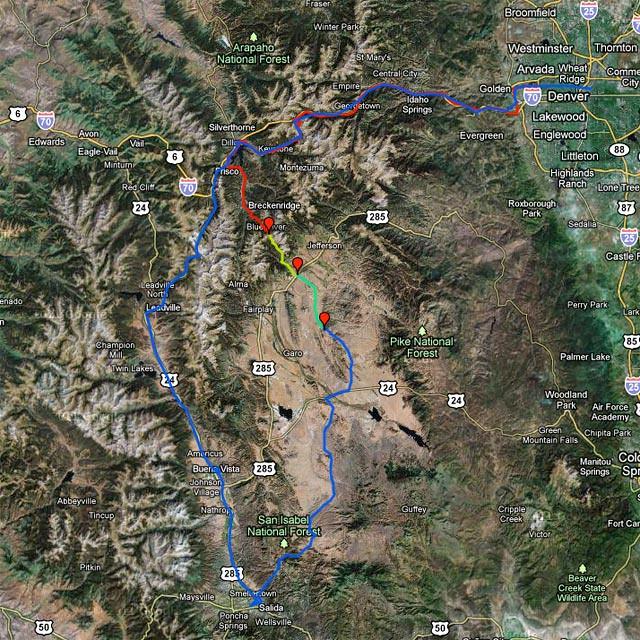 Denver - Frisco -> Boreas Pass -> Como -> Hartsel -> Salida -> Buena Vista -> Leadville -> Frisco -> Denver