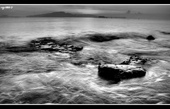 Morning Turbulance in B&W (Ragstatic) Tags: city longexposure morning light sunset sea sky sun seascape color reflection beach water clouds sunrise relax landscape happy dawn photo nikon singapore rocks exposure nightshot famous photograph punggol dri hdr stockphoto blending 2xp d80 singaporelandscape nikorr18200vr rags1969 singaporenightshot singaporeseascape