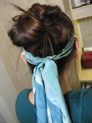 Monday - Experiment in Hair (chicgeekuk) Tags: york uk laura green scarf hair university unitedkingdom head silk tie style sash messy universityofyork kishimoto updo laurakishimoto laurakishimotoca
