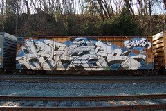Enter (huntingtherare) Tags: cars car train graffiti whole enter goonies freight wholecar