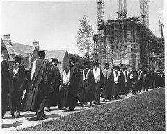 Commencement Procession, 1931 (Duke University Archives) Tags: students nc 1930s construction scaffolding gothic graduation northcarolina procession commencement gowns dukeuniversity corrected graduates regalia dukechapel