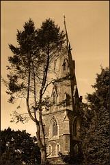 Church steeple in sepia (Mary Susan Smith) Tags: england church sepia steeple superhero ambleside lakesdistrict bigmomma challengeyouwinner 3waychallengewinner 15challengeswinner cychallengewinner photofaceoffwinner photofaceoffgoldmedal pfogold thechallengefactory tcfwinner herowinner