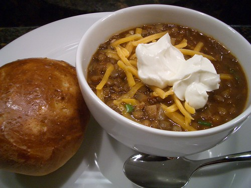 Lentil chili with cumin & green onions