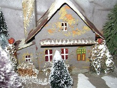 CLOSE-UP OF ROBBY'S AMAZING VINTAGE CHALET LOG CABINS/CHRISTMAS PUTZ NUMBER 3 (mcudeque) Tags: christmas vintage village cardboard putz
