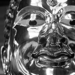 Brass Buddha detail. (ndnbrunei) Tags: blackandwhite bw 120 6x6 tlr film rollei mediumformat square kodak bangkok bn mf kodakbw400cn rolleicord bw400cn classicblackwhite rolleigallery ndnbrunei