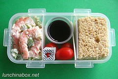 Shrimp salad bento lunch for prechooler