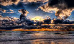 Colorful sunset (Amundn) Tags: light sunset beach water norway clouds strand geotagged stavanger nikon colorful stream waves ripples sola hdr rogaland d300 5xp wherearethebirds