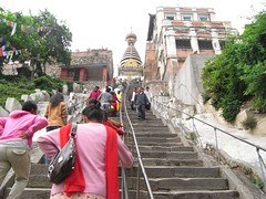 Going up steep steps to the monkey temple