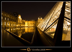 Pyramid and golden water @ Louvre, Paris, France :: Long exposure (Erroba) Tags: longexposure paris france water photoshop canon rebel gold pyramid belgium louvre tripod sigma tips remote 1020mm erlend 100s cs3 xti 400d infinestyle overtheexcellence theperfectphotographer erroba robaye erlendrobaye
