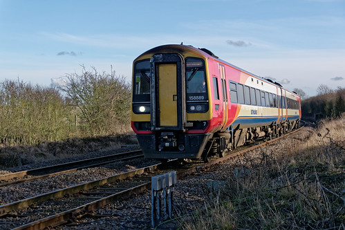 158889 2S10 1015 Skegness to Nottingham,Sewstern Lane crossing on the Grantham- Nottingham line,February 4th 2017.