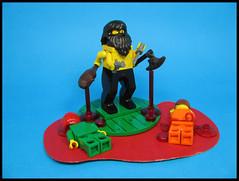 Mannie Murdurz (Karf Oohlu) Tags: lego moc figure modifiedfigure fourarms murder murderer hairy axe club knif pistol
